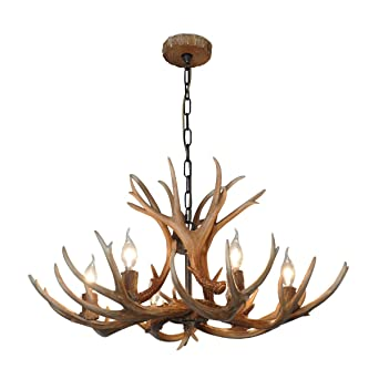Shengdi deer horn e12 bulb 6 light iron resin industrial retro shengdi deer horn e12 bulb 6 light iron resin industrial retro droplight pendant lamp ceiling aloadofball Image collections