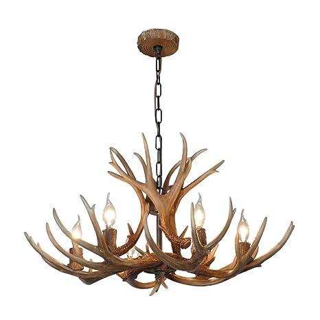 Shengdi deer horn e12 bulb 6 light iron resin industrial retro shengdi deer horn e12 bulb 6 light iron resin industrial retro droplight pendant lamp ceiling aloadofball Choice Image