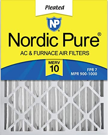 MERV 10 Pleated AC Furnace Air Filters 2 Pack 3-5//8 Actual Depth Nordic Pure 16x25x4