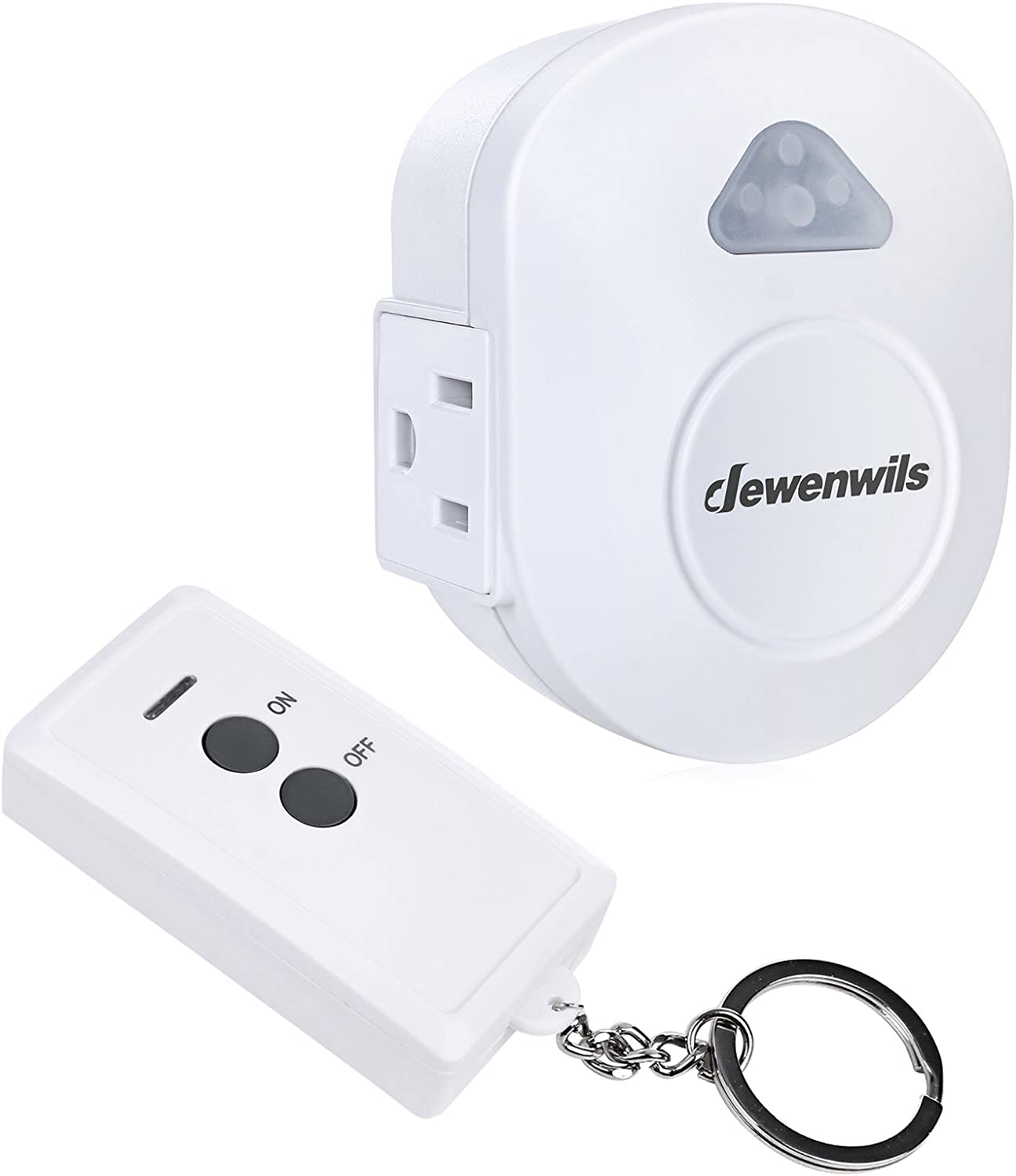 DEWENWILS Wireless Remote Control Electrical Outlet Switch, RF Remote Control ON OFF Light Switch Kit, No Interference, 15 AMP Heavy Duty, 100 FT Range, Compact Side Plug