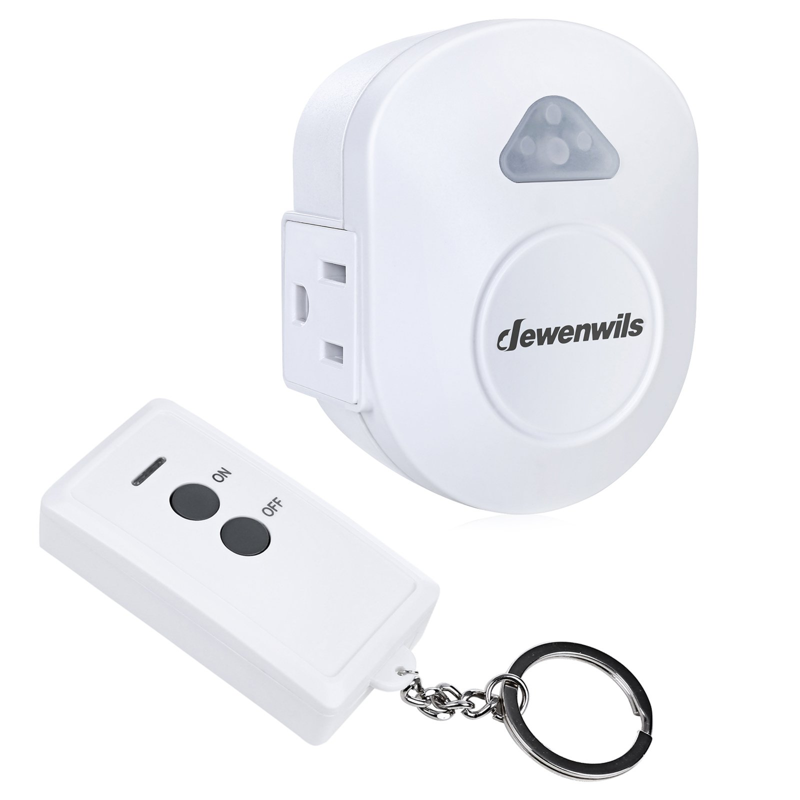 DEWENWILS Wireless Remote Control Electrical Outlet Switch, RF Remote Control ON OFF Light Switch Kit, No Interference, 15 AMP Heavy Duty, 100 FT Range, Compact Side Plug by DEWENWILS