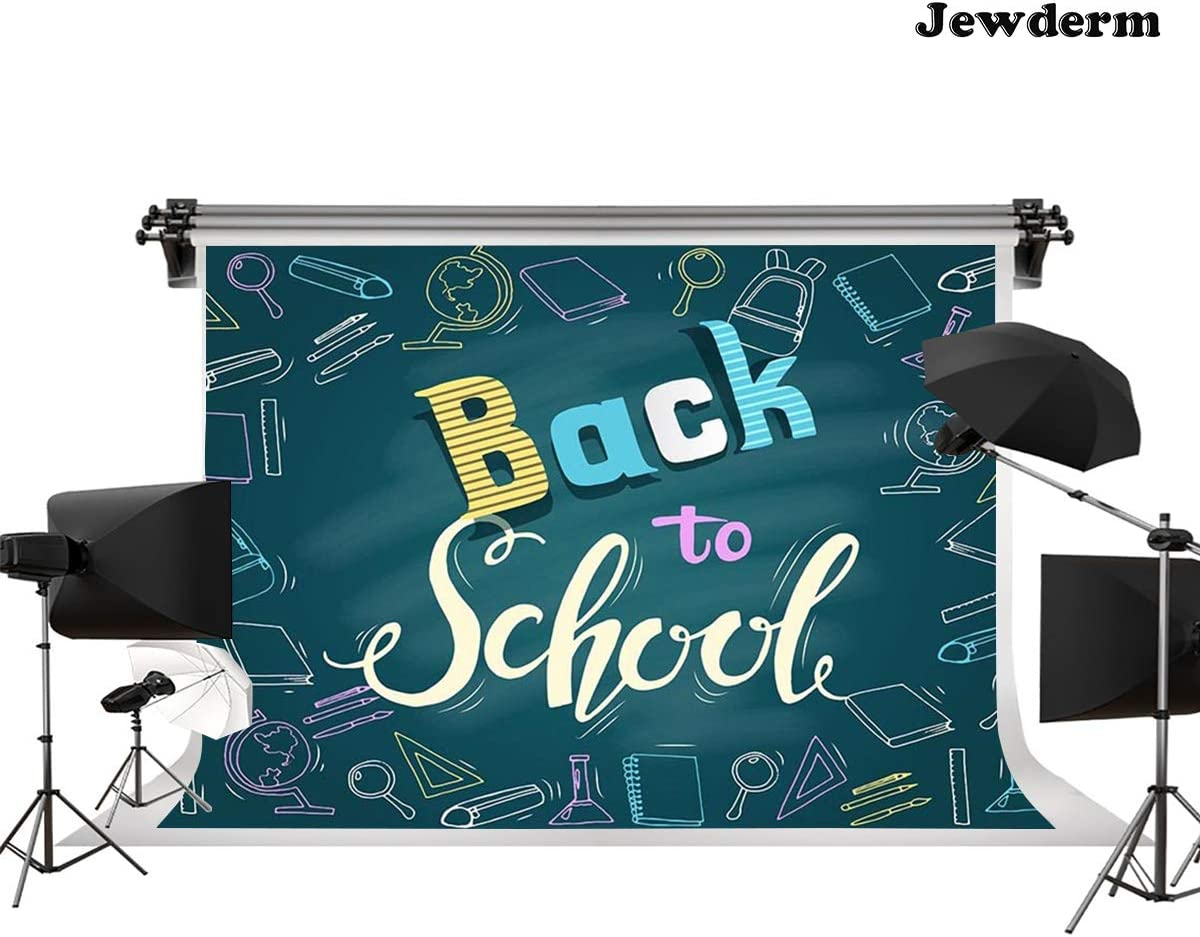 Jewderm 9x6ft Back to School Photography Backdrop Blue Blackboard Background for Party Cake Table Wall Decoration Photographic Cloth Curtain Studio Props Photo Booth