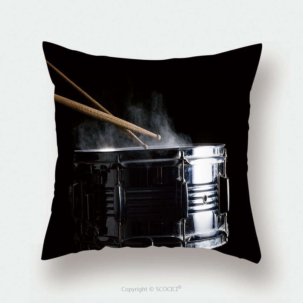 Custom Satin Pillowcase Protector Drum Sticks Hit On The Snare Drum In Black Background Close Up Low Key 529602367 Pillow Case Covers Decorative by chaoran
