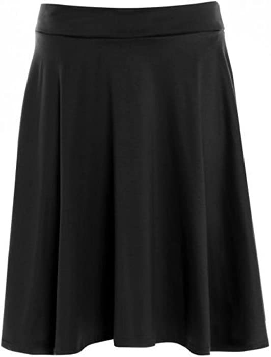 930bbd451c4 Womens Plain Soft Stretch Ladies Elasticated Waistband Knee Length Full  Flared Swing Skater Midi Skirt Plus