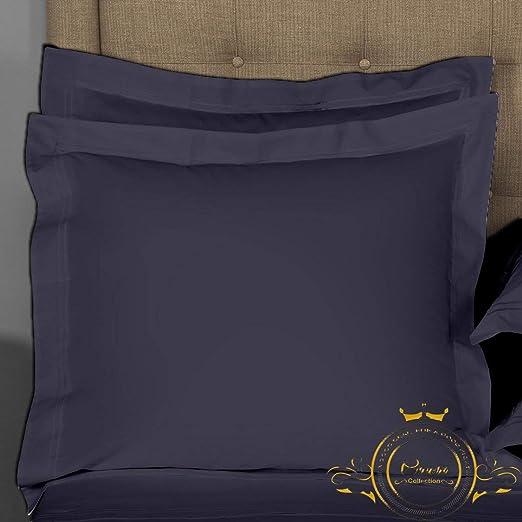 European 28 x 28, Navy Blue Solid European Shams Set of 2 Shams White 500 Thread Count 100/% Egyptian Cotton