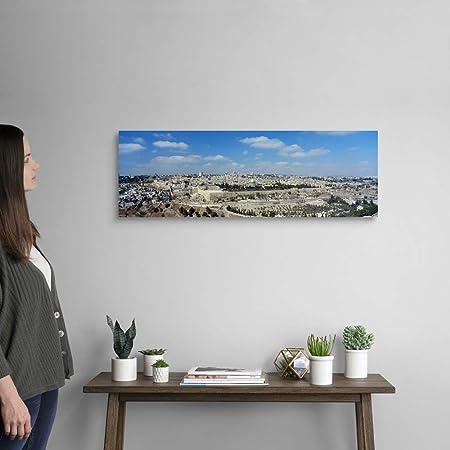 Amazon Com The Western Wall And Old City Jerusalem Israel Canvas Wall Art Print 36 X12 X1 25 Furniture Decor