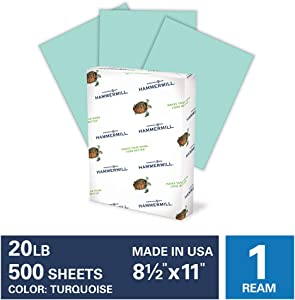 Hammermill Turquoise Colored 20lb Copy Paper, 8.5x11, 1 Ream, 500 Total Sheets, Made in USA, Sustainably Sourced From American Family Tree Farms, Acid Free, Pastel Printer Paper, 103820R