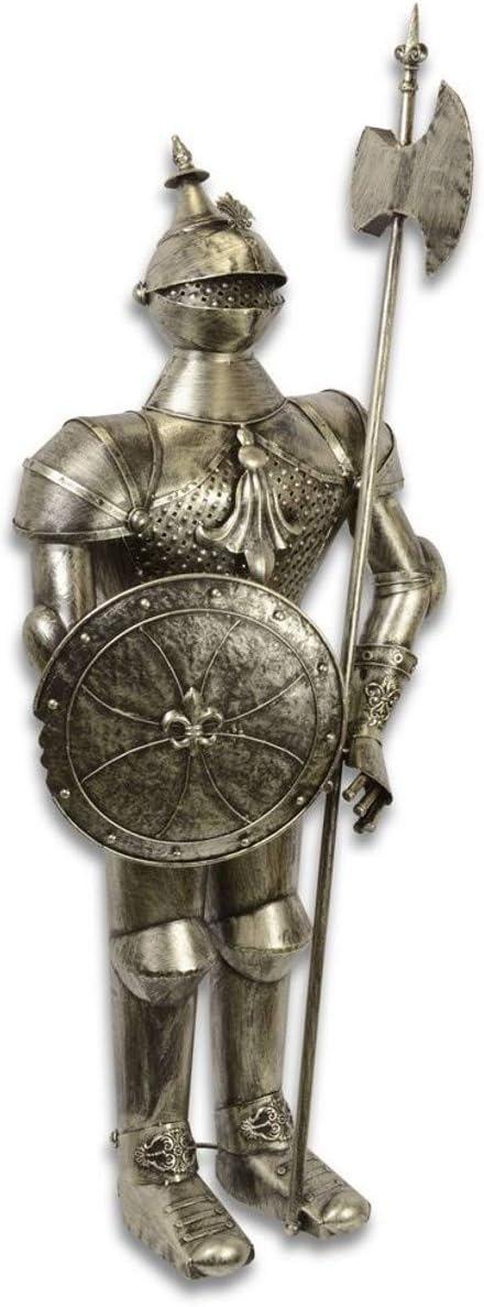 Casa Padrino Armadura/Armadura Caballero de Hierro con Escudo y Lanza Plata Antigua H. 140 cm - Deco Medieval