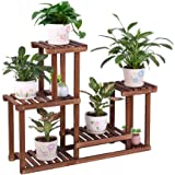 COOGOU Pine Wood Plant Stand Indoor Outdoor Multi Layer Flower Shelf Rack Higher and Lower Plant Holder in Garden Balcony Pat