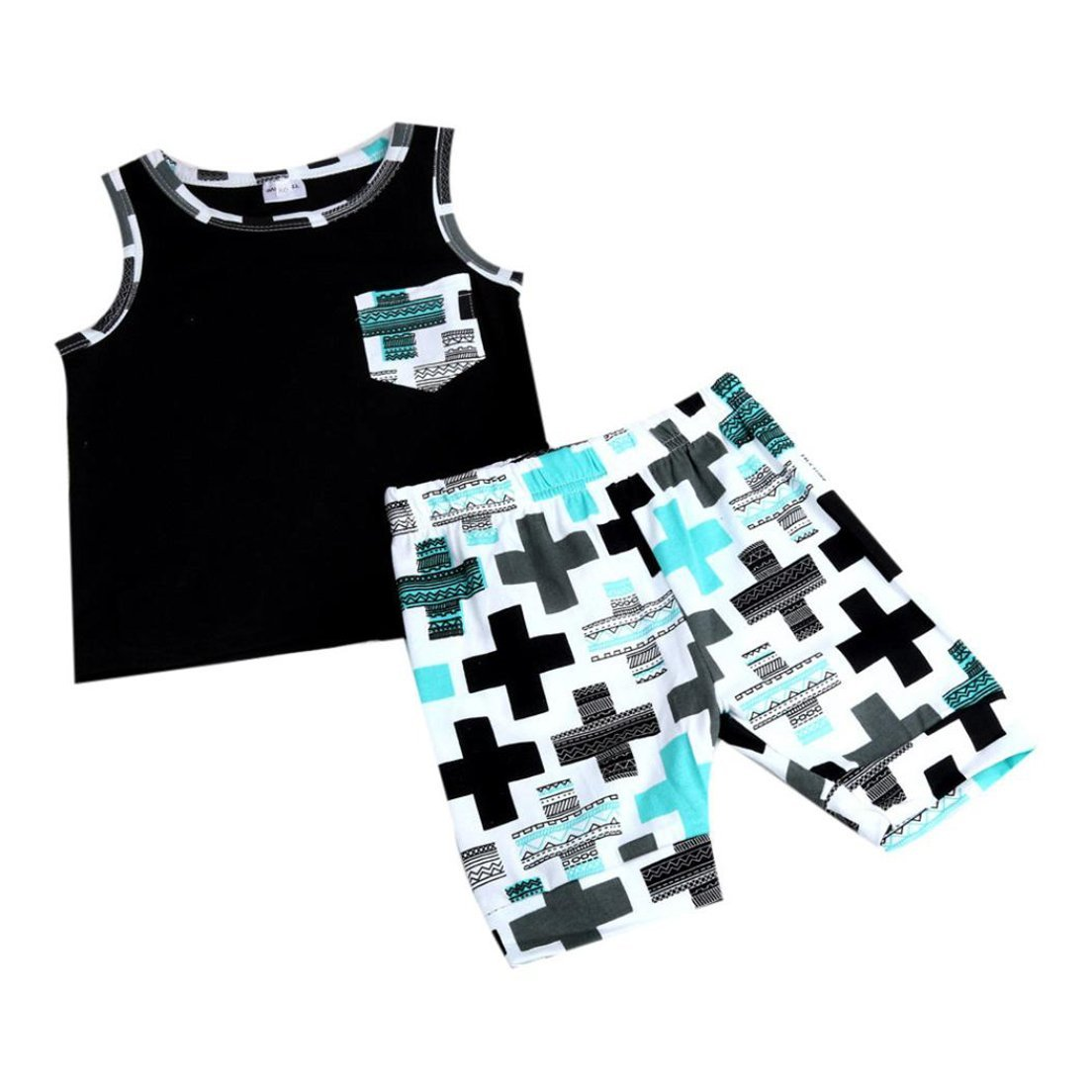 Luoke Newborn Toddler Infant Boys Girls Outfit Vest Tops+Shorts