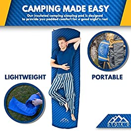 Self Inflating Sleeping Pad – Camping Sleeping Pad for Camping & Backpacking – Used as Camping Pads for Sleeping, Backpacking Sleeping Bag Pads, Hammock Sleeping Pads – Self Inflating Camping Pad