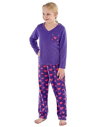 3671a17c6 Girls Rosie Warm Micro Polar Fleece V Neck Pyjama Purple 13y  Amazon ...