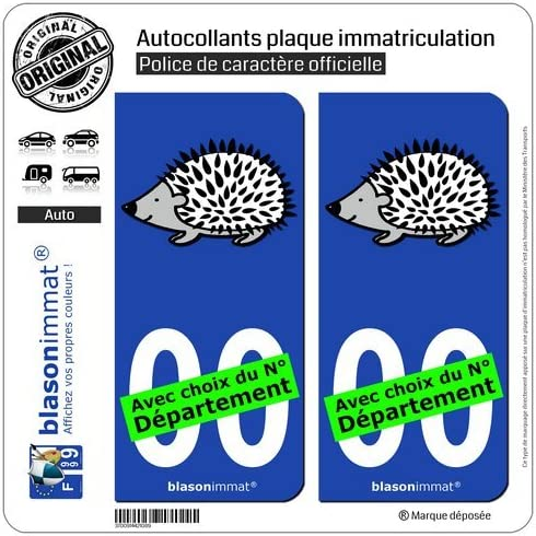 H/érisson II blasonimmat 2 Autocollants Plaque immatriculation Auto