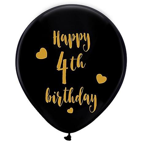 Amazon Black 4th Birthday Latex Balloons 12inch 16pcs Boy
