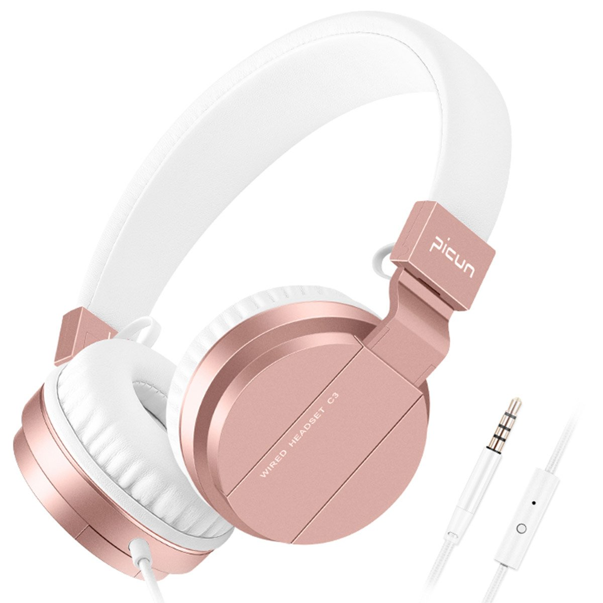 Picun Headphones for Women Girls Over Ear Wired Headphone with Microphone Foldable Stereo Headset for Cell Phone Tablet Laptop TV Computer Work Travel Music Rose Gold