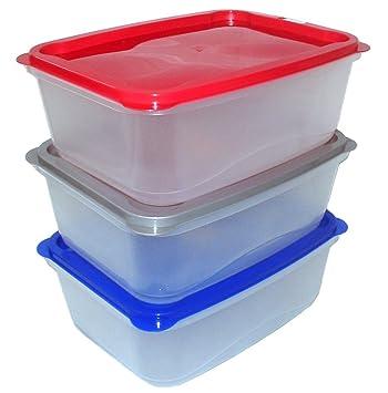 énorme réduction 2b588 17ac4 3 x Grand 4 L contenants en plastique alimentaire (Boîtes à ...