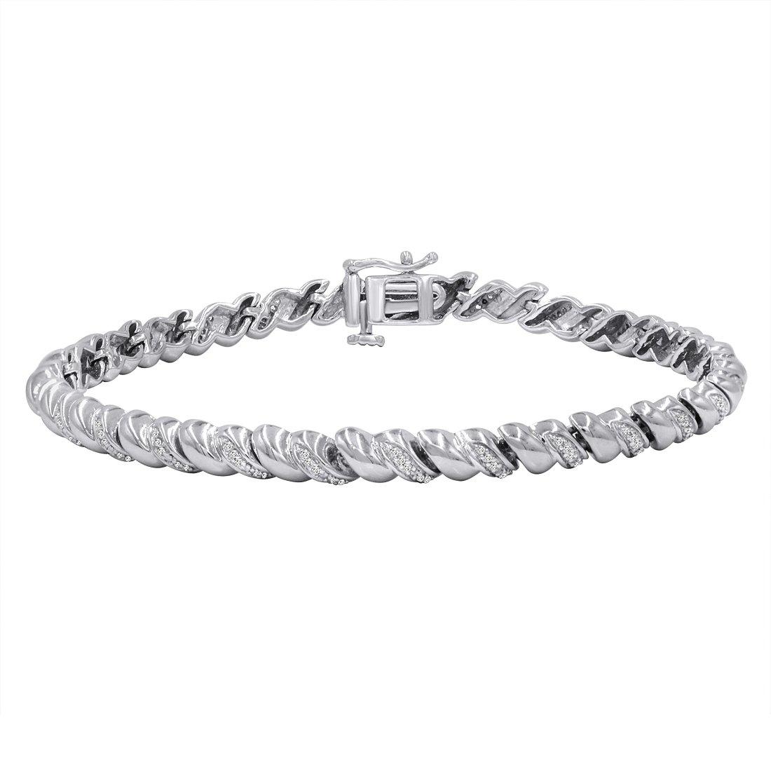 AGS Certified 1/3ct TW Diamond San Marco Tennis Bracelet in Sterling Silver