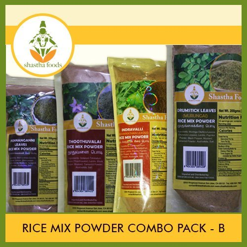 Shastha Rice Mix Powder Combo Pack B (Contains 12 Pkts) Shastha (Mudakkathan, Drumstick Leaves, Ponnanganni Leaves & Thoodhuvalai) Rice Mix Powder (Each Pkt 200 Gms) T-B