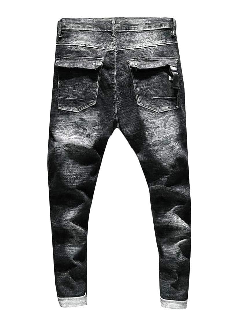 a13371d57c1 ... Black MacondooCA Men Men Men Trousers Washed Denim Camouflage Slim Jean  Pants b32098