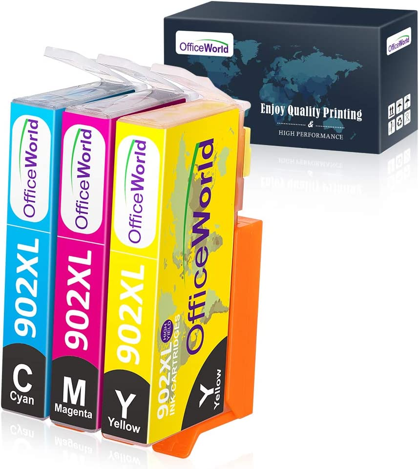 OfficeWorld Compatible Ink Cartridge Replacement for HP 902 902XL Work with HP OfficeJet Pro 6978 6968 6962 6958 6970 6960 6979 6950 6954 6975 6951 (Cyan Magenta Yellow, 3-Pack)