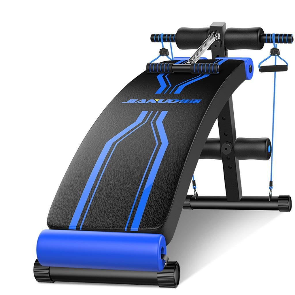 DLT Utility Sit Up Bench Incline Decline, Schwarz Blau Gewicht Bench Crunch Board für Toning und Krafttraining, Verstellbare AB-Trainingsbank zu Hause Gym