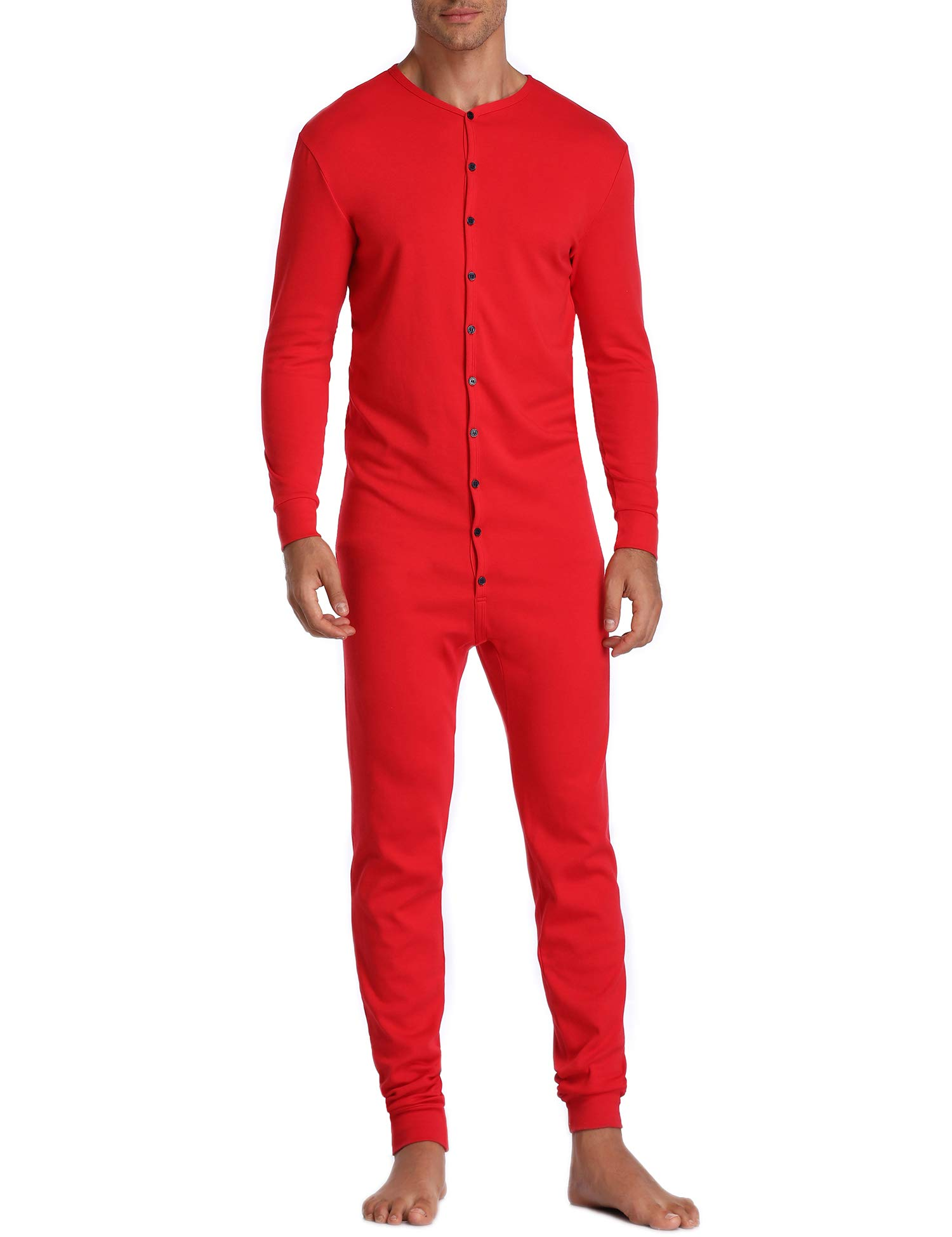 Lusofie Mens Thermal Underwear Union Suit Base Layer Henley Adult Onesie (Red, S) by Lusofie