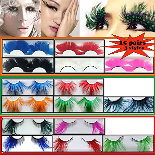 Lookathot 3 Styles 15 Pairs Feather False Eyelashes