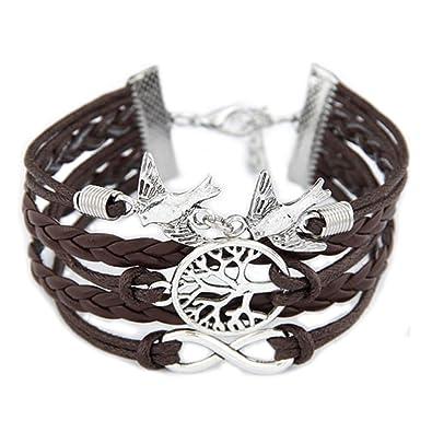 Vintage Bracelet en cuir avec des pendentifs (symbole de la liberté, clef,  hibou b791f6ba68c8