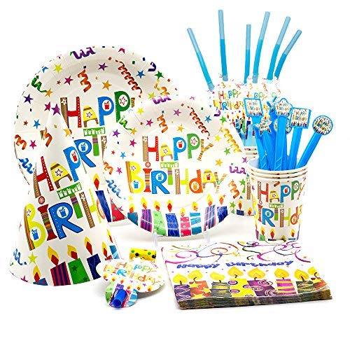 Happy Birthday Plates and Napkins Set | Birthday Decorations | Kids Party Supplies Party Pack |Birthday Party Decorations | Complete Birthday Set for 6 guests. (Includes plates, napkins, cups, straws, birthday hats, party favors, banner, tablecloth and more)