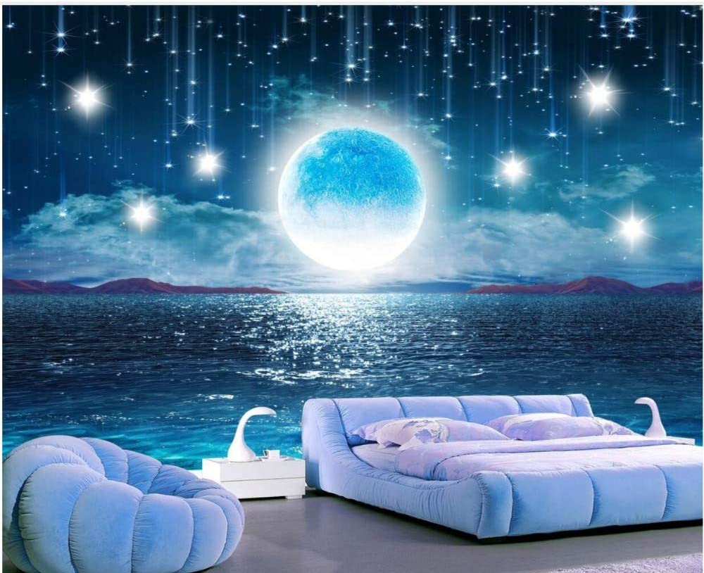 Wall Mural 3d Moon Moon Moon Night Starry Sky Custom Wallpaper 3d