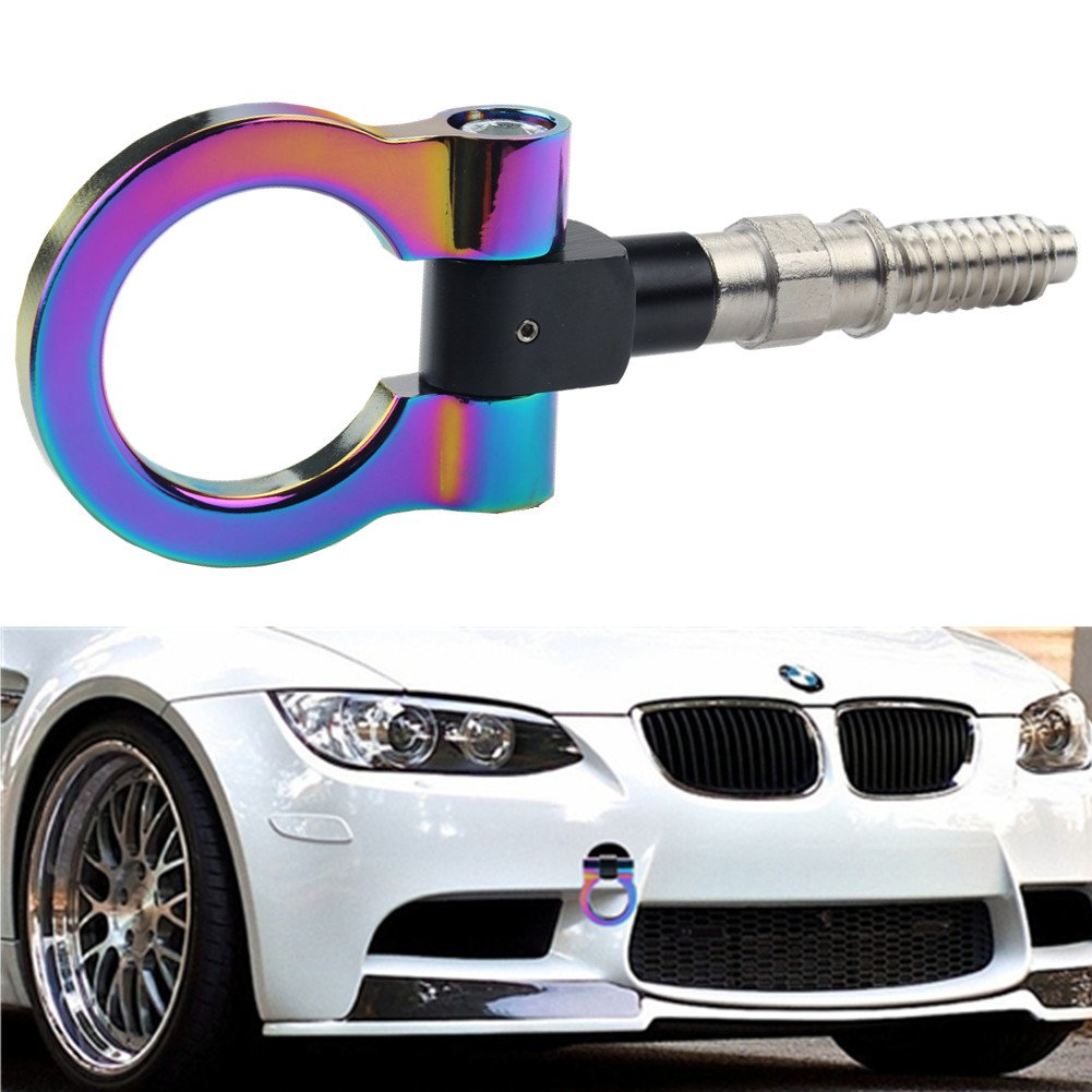 DEWHEL Track Racing Front Rear Bumper Car Accessories Auto Trailer Ring Hook Eye Towing Tow Hook Kits Neo Chrome Screw On for 1 3 5 Series X5 X6 E36 E39 E46 E82 E90 E91 E92 E93 E70 E71 Mini Cooper by DEWHEL