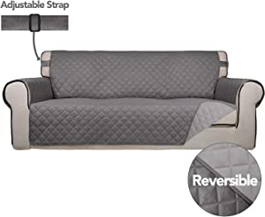 PureFit Reversible Quilted Sofa Cover, Spill, and Water Resistant Slipcover Furniture Protector, Washable Couch Cover with Anti-Slip Foam and Adjustable Strap for Kids, Pets (Sofa, Gray/Light Gray)