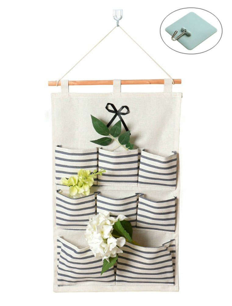 OURSART Hanging Storage Bag Blue Strips 8 Pockets Waterproof Linen Fabric Wall Door Closet Storage Bag Over the Door Organizer (Blue)
