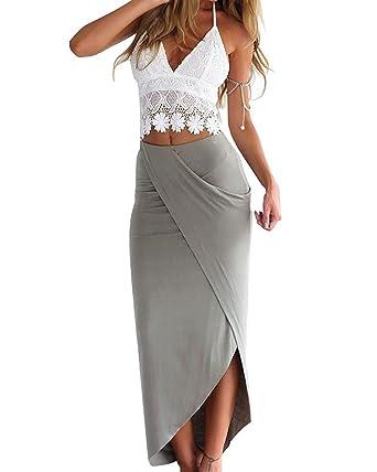 a03f8834ceda Amazon.com  Women Lace Deep V Neck Crop Top Slit Maxi Skirt Bodycon Beach 2  Pieces Dress Set  Clothing