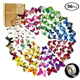 JUSLIN 96 Pcs 3D Butterfly Removable Mural Stickers Wall Stickers Decal for Home & Room Decoration, 8 Colors, with 1 Sheet of Dot Glue Stickers Per Pack