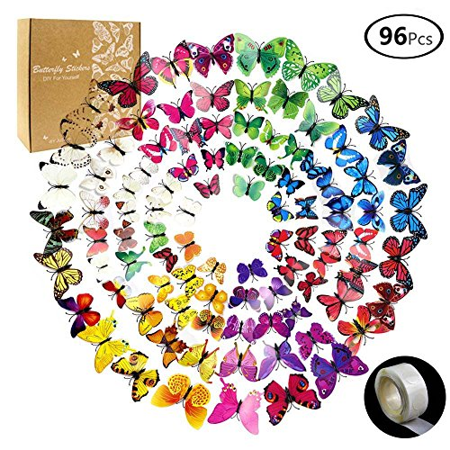 JUSLIN 96 Pcs 3D Butterfly Removable Mural Stickers Wall Stickers Decal for Home & Room Decoration, 8 Colors, with 1 Sheet of Dot Glue Stickers Per Pack by JUSLIN USA