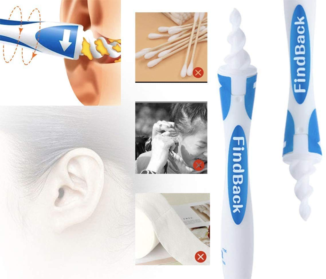 Blau Q Grips Ohrenreiniger mit 16 Ersatzk/öpfen Ohrenreiniger Ohrenschmalz Entferner Sicher und Weich 360 Grad Spirale Silikon Geeignet f/ür Kinder und Erwachsene
