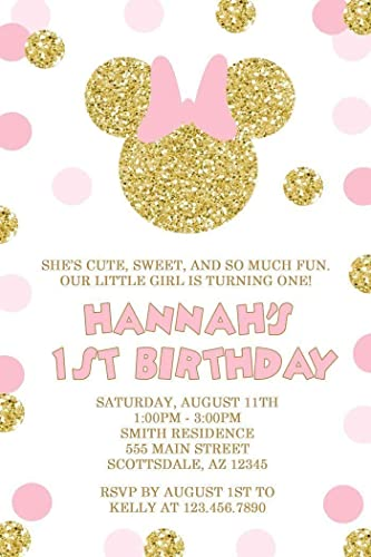 Amazon Com Minnie Mouse Birthday Party Invitations Pink And Gold