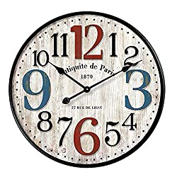 YeYo Large Size Simple European Style Wall Clock Wooden MDF Waterproof Silent Art Decor for Home Living Room Office Decoration (20 inch)