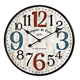 Simple European Style Wall Clock Wooden MDF Waterproof Silent Art Decor for Home Living Room Office Decoration (20 inch) Review