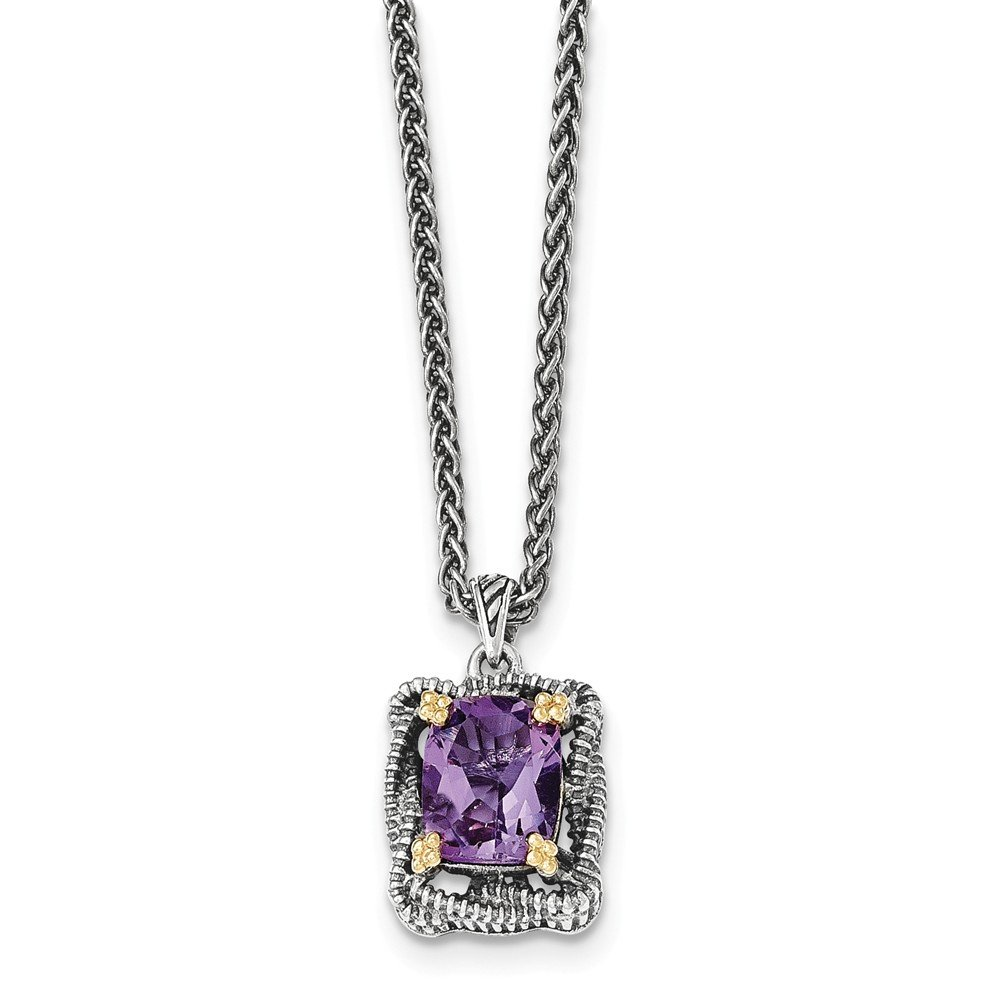 Mia Diamonds 925 Sterling Silver and 14k Yellow Gold Amethyst Necklace
