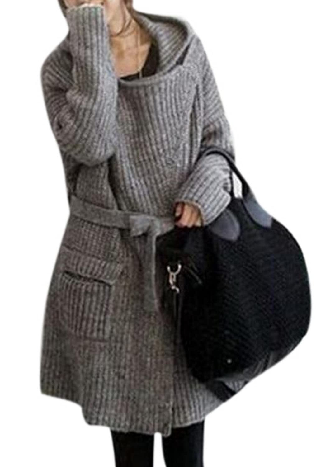 Lingswallow Womens Grey Casual Loose Knitted Long Sweater Cardigan Hoodie