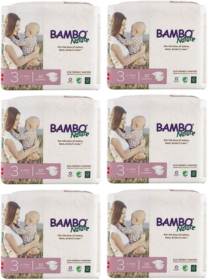 Bambo Nature Premium Baby Diapers 24-55 lbs Size 5 27 Count