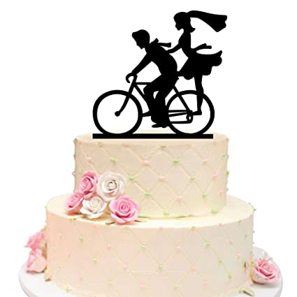 Amazon wedding cake topper with bride and groom silhouettes on wedding cake topper with bride and groom silhouettes on bike lovely couple bicycle silhouette cake junglespirit Image collections