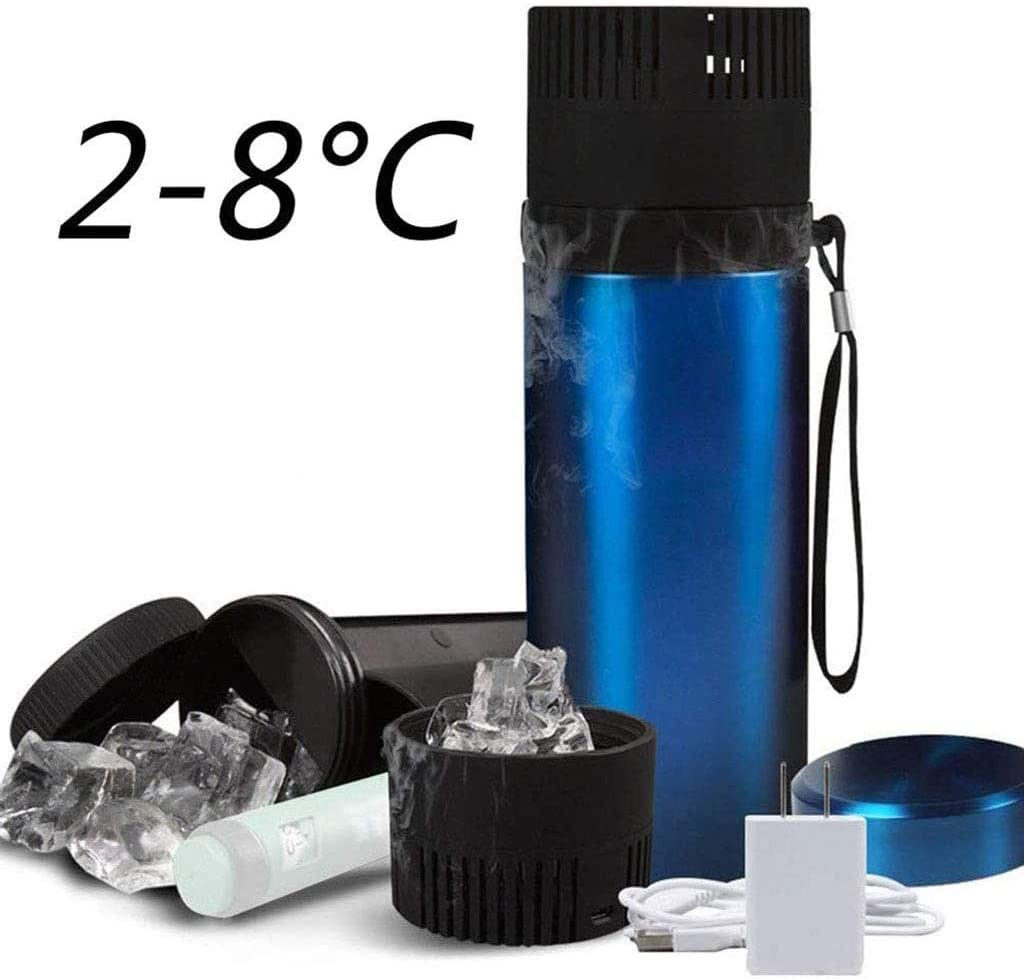 WZYJ Caja refrigerada de insulina de 900 ml, Mini Taza de Viaje portátil USB, para medicamentos, Bebidas, refrigeración de Cerveza