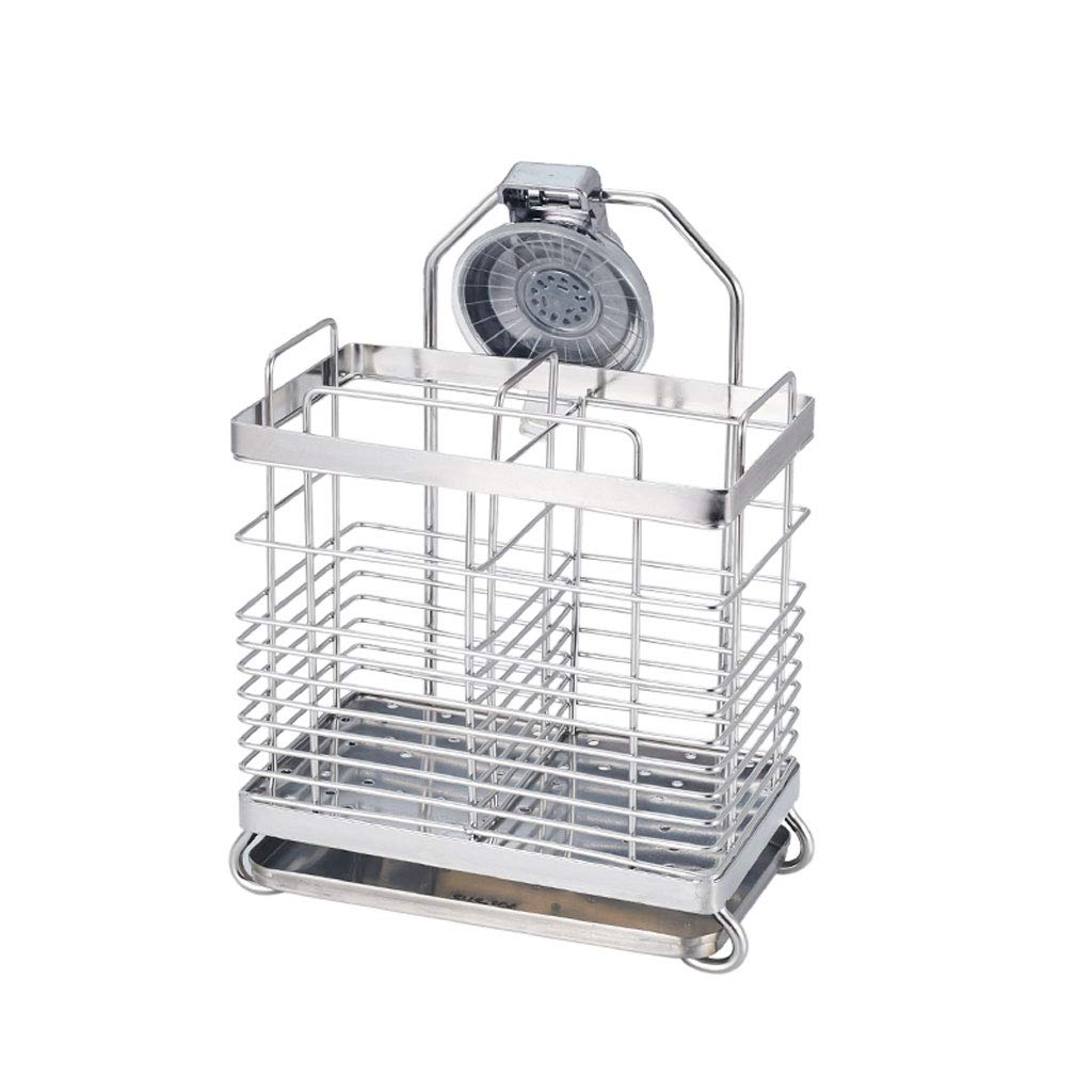 CFXZM Kitchen Shelf, Knife Fork Chopsticks Double Tube Drain Rack Cage Storage Box 304 Stainless Steel Suction Cup Wall Basket by CFXZM (Image #7)