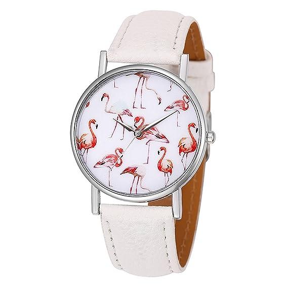 Mujer Reloj De Pulsera minimalismo estilo blanco esfera con flamencos Diseño reloj analógico Quartz Blanco: Amazon.es: Relojes