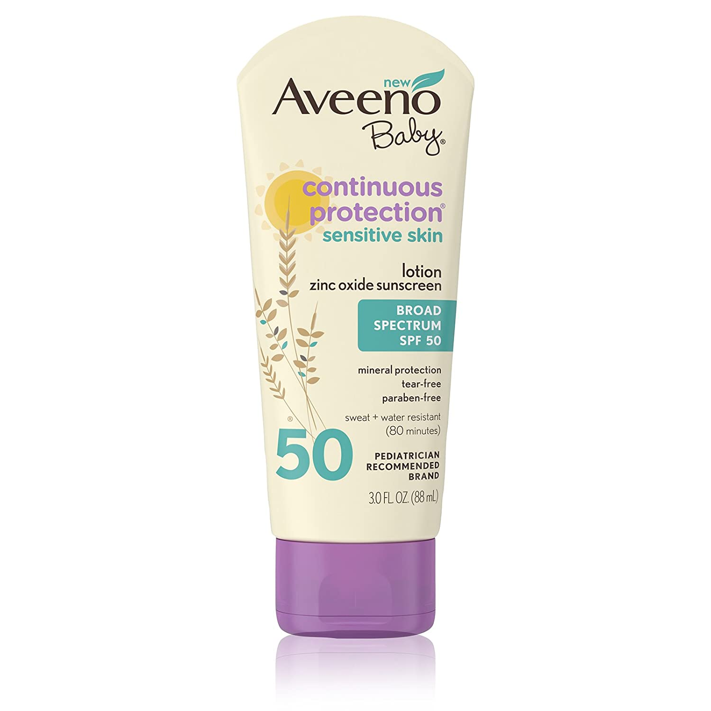 Aveeno Baby AVEENO Baby Continuous Protection Sensitive Skin Lotion Zinc Oxide Sunscreen SPF 50 3 oz 3 Fl. Oz 381371164509