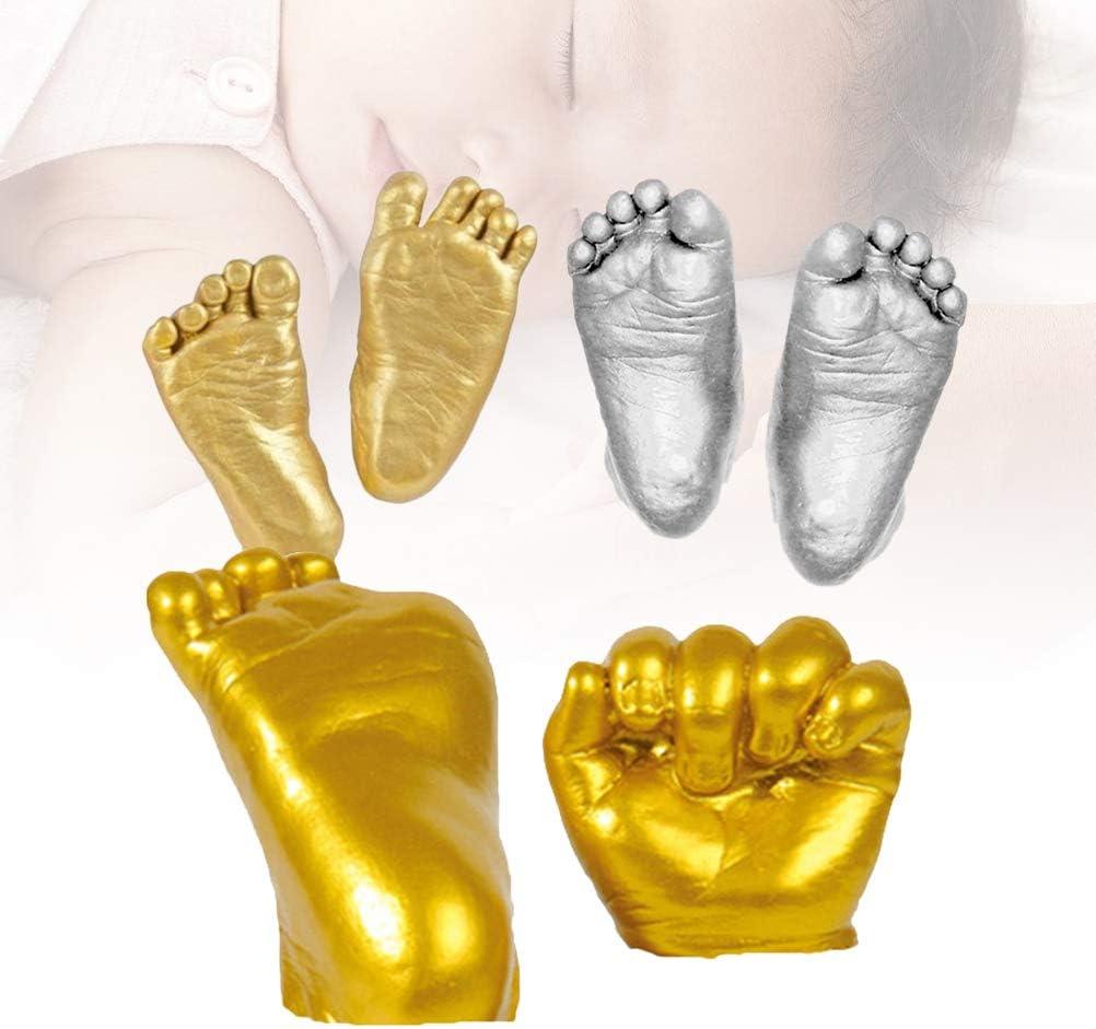 YeahiBaby Kit de coul/ée de b/éb/é 3D Empreintes de Main en pl/âtre Empreintes de Pas Baby Shower Cent Jours Main Pied Bricolage Souvenir Cadeaux