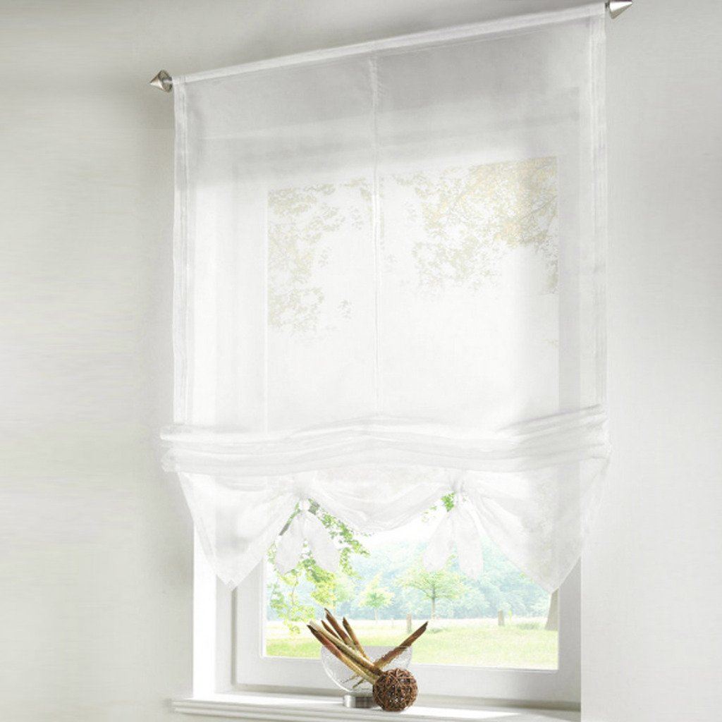Yujiao Mao Roman Blinds Ready Made Cafe Net Curtains For Living Room Semi  Sheer Short Curtains: Amazon.co.uk: Kitchen U0026 Home